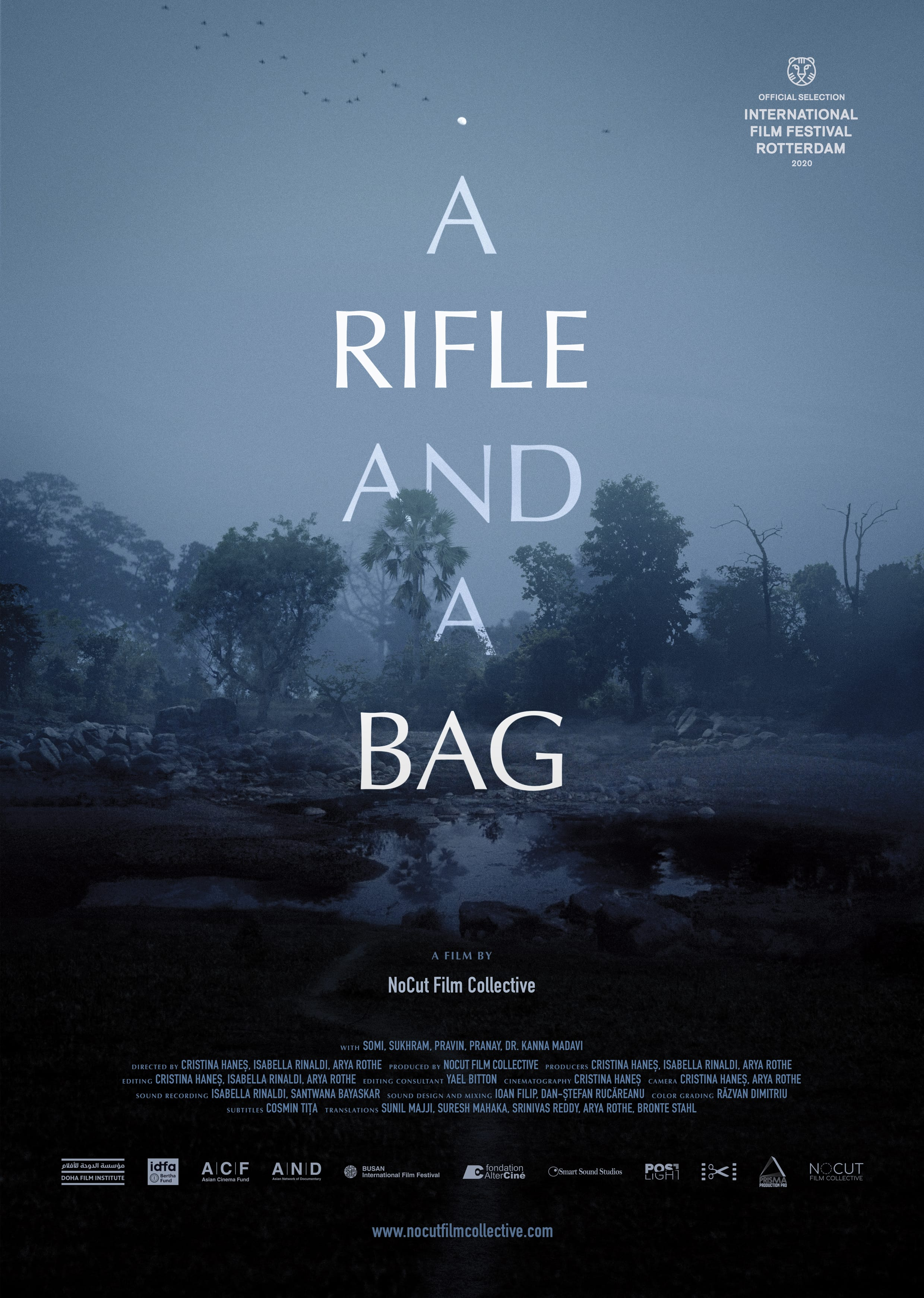 a rifle and a bag poster
